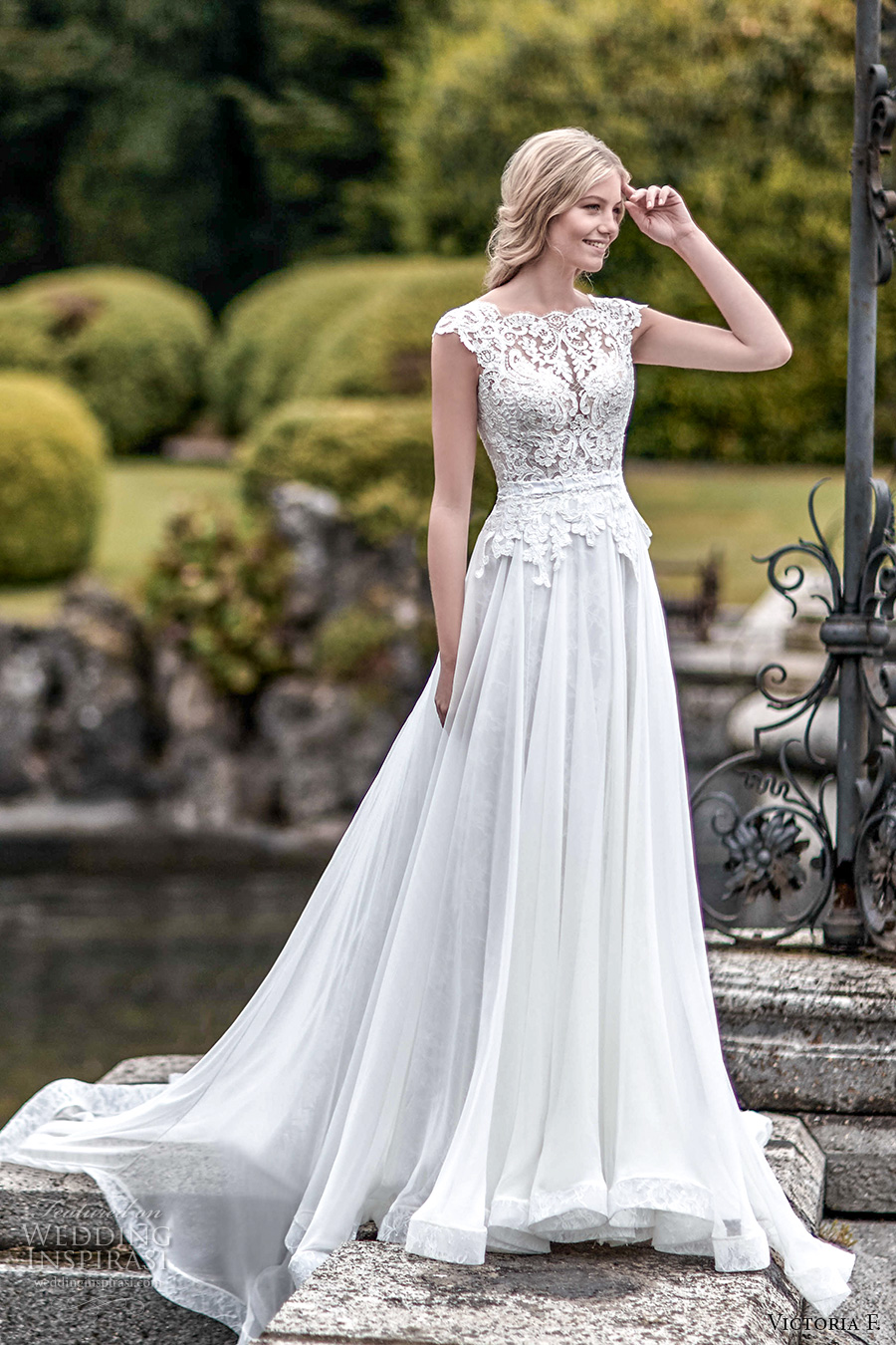 victoria f 2017 bridal cap sleeves scallop lace bateau neckline heavily embellished bodice beautiful elegant a line wedding dress chapel train (untitled 02) mv