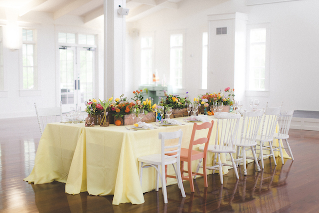Citrus themed wedding reception table | Stephanie Yonce Photography