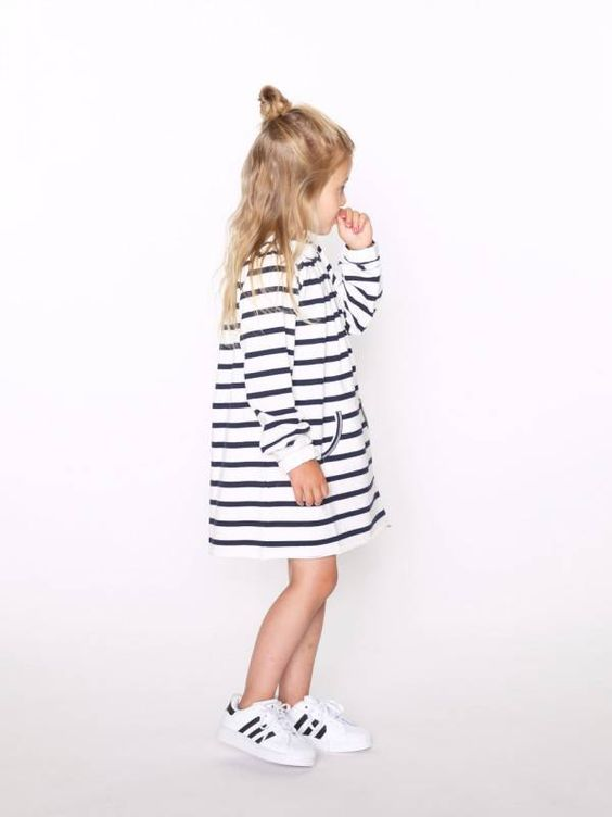 striped T shirt dress with black and white sneakers