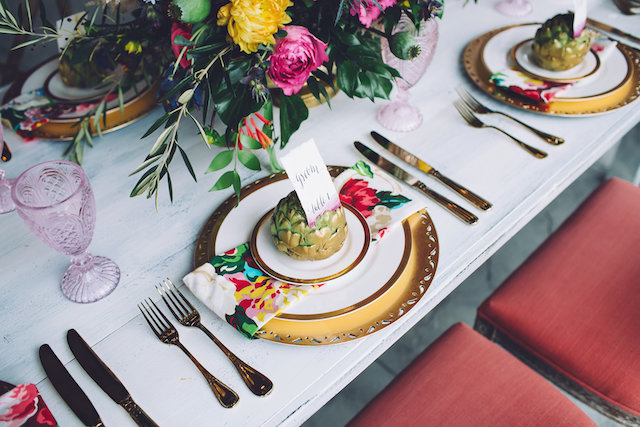 Gold spray painted artichoke heart place card holder | Monika Gauthier Photography