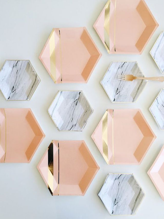 Pink, gold, and marble paper plates | 2016 Wedding Trend | Marble Wedding Details