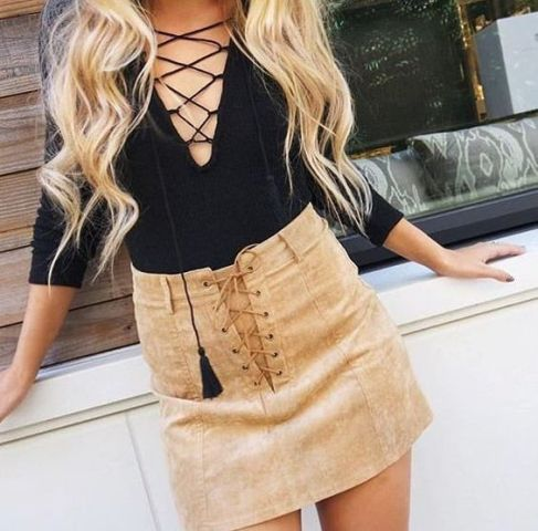 Look with suede skirt and lace up shirt