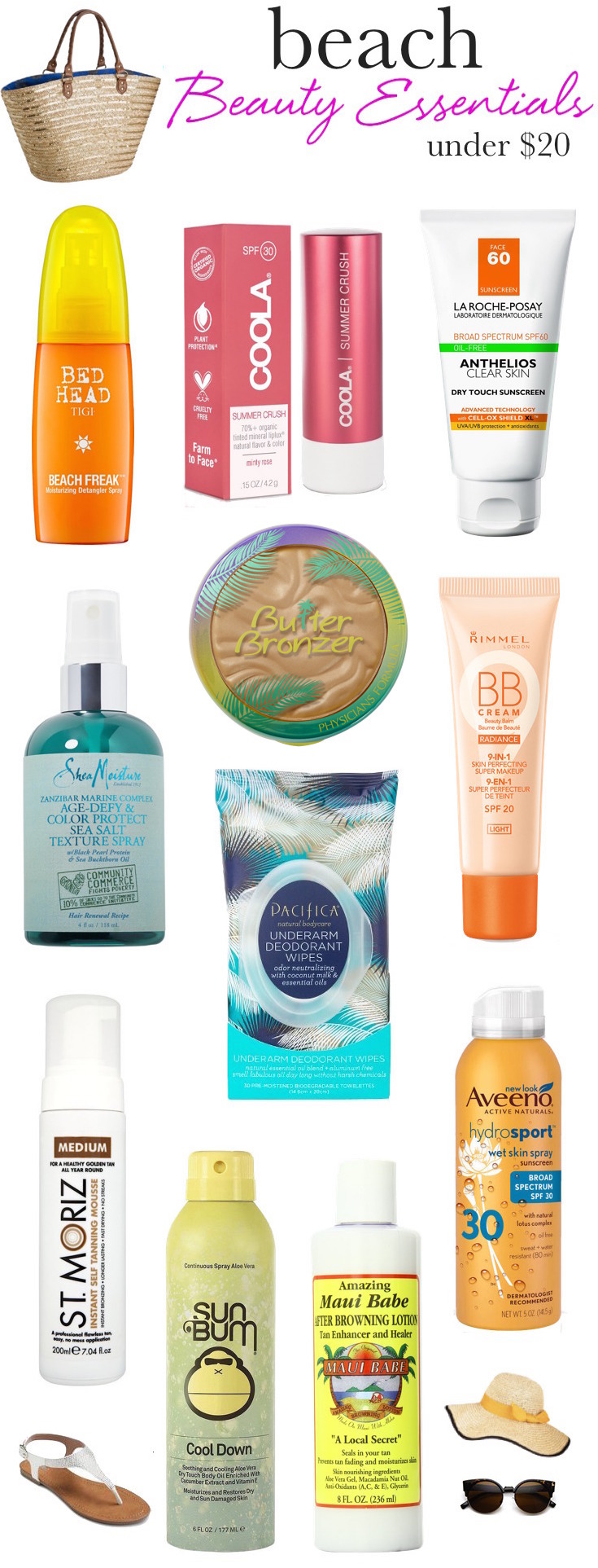Whether you'll be lounging poolside or hitting the beach, throw these sweat-proof, frizz-busting summer beauty essentials in your tote to keep your skin, hair and makeup in top shape...and they're all under $  20!