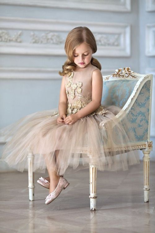 tan and gold tulle dress