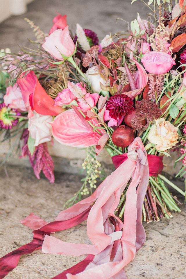 Pink and berry bridal bouquet   Anna Markley