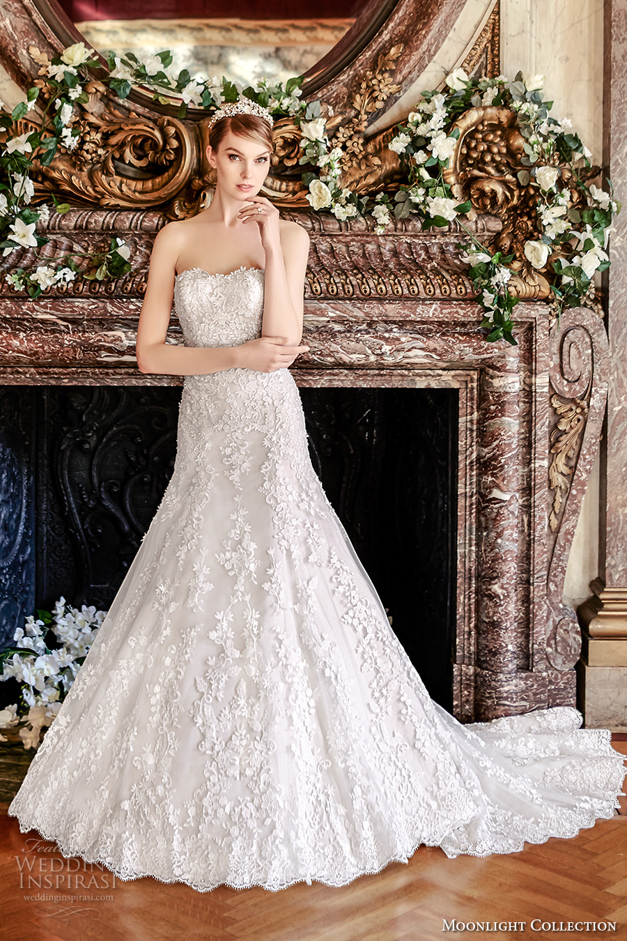moonlight collection fall 2016 bridal strapless semi sweetheart neckline full embellishment bodice romantic fit and flare wedding dress low back cathedral train (j6440) mv
