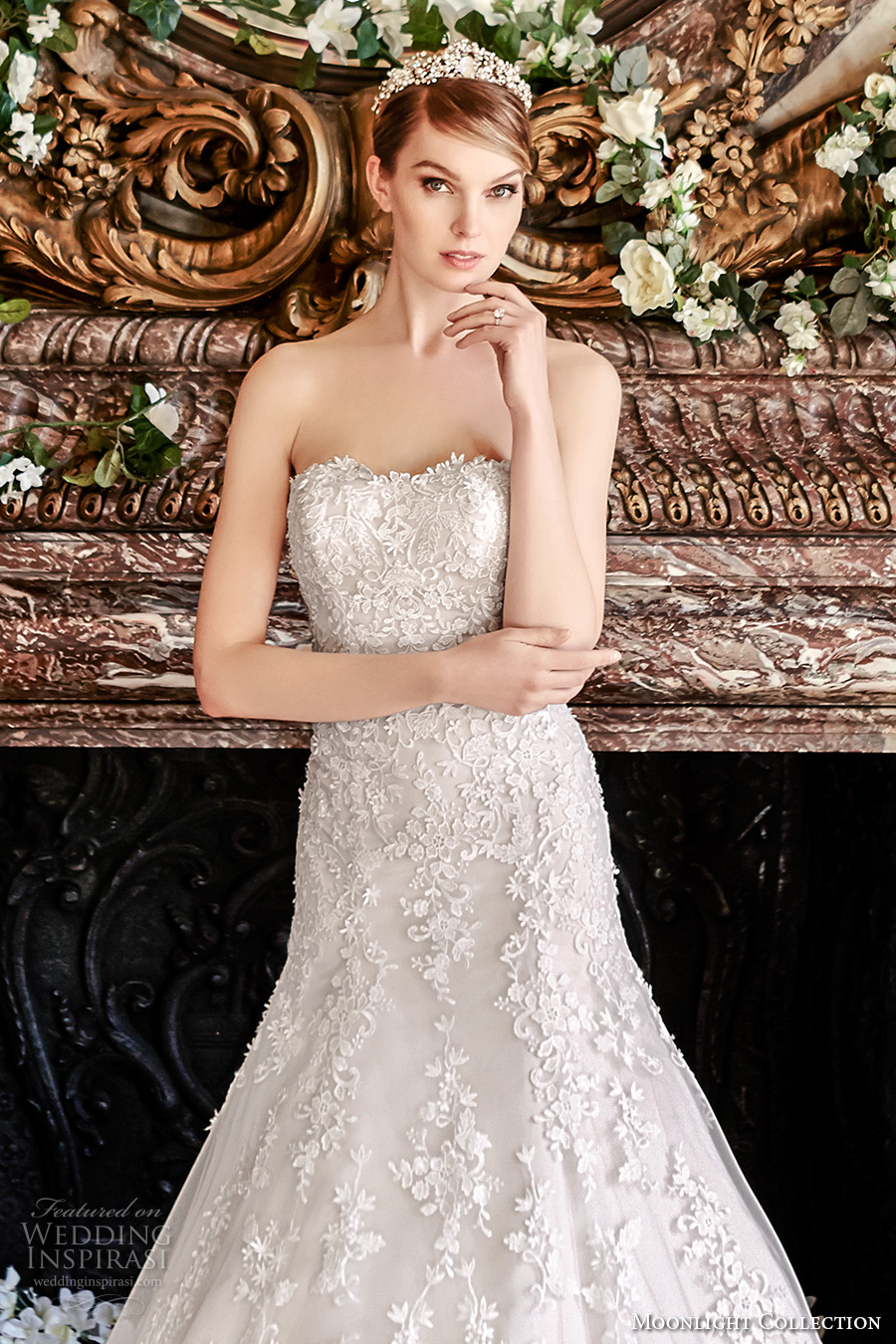 moonlight collection fall 2016 bridal strapless semi sweetheart neckline full embellishment bodice romantic fit and flare wedding dress low back cathedral train (j6440) zv