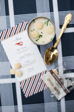 Oyster and clam chowder shooters | Eileen Meny Photography