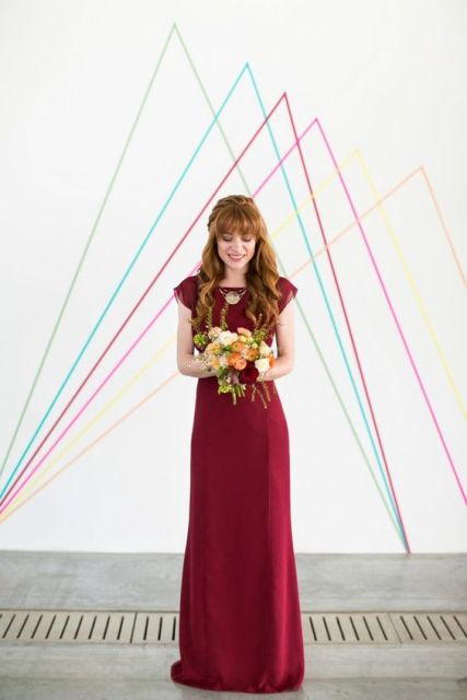 Chic burgundy maxi bridesmaid dress