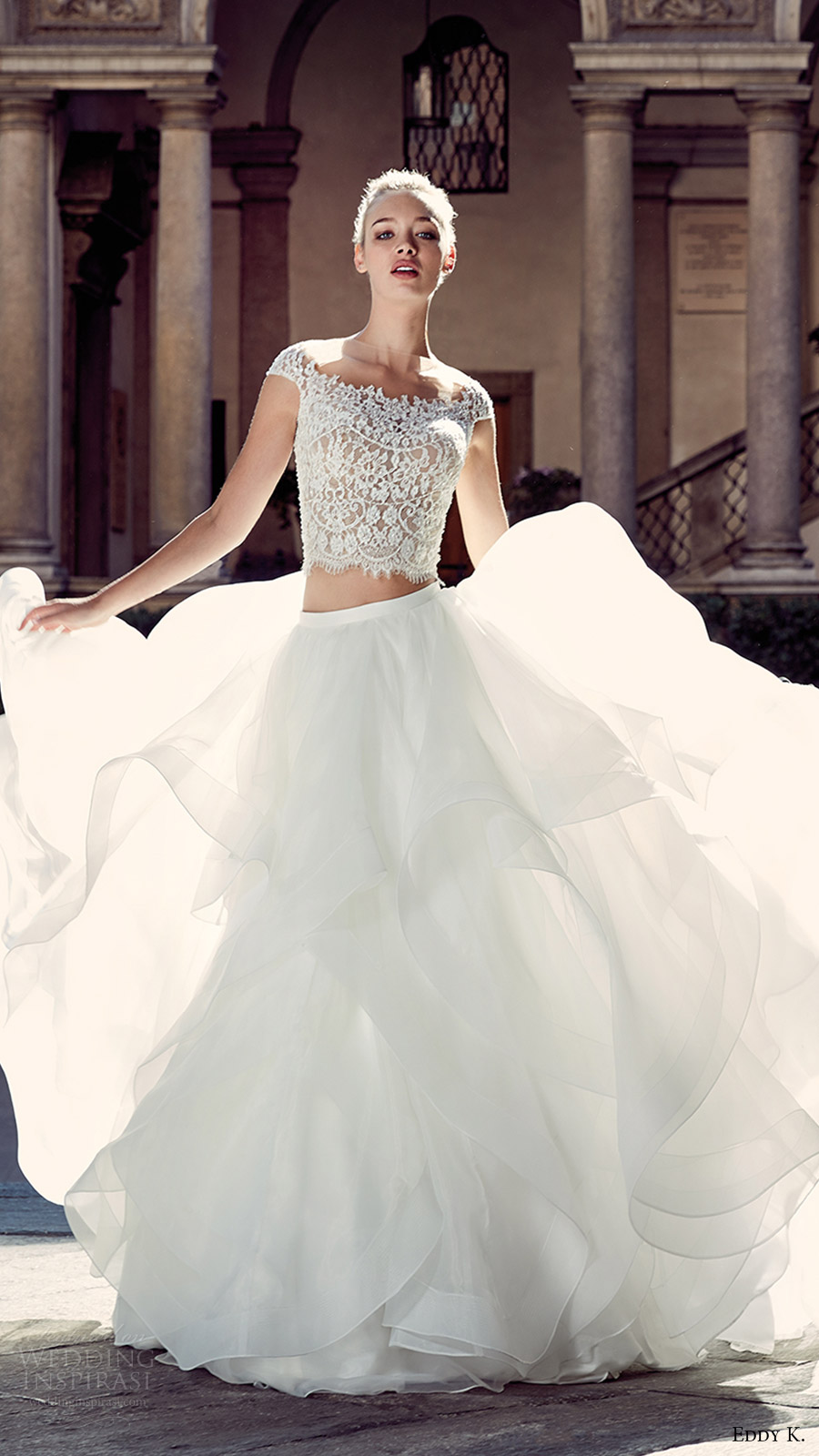 eddy k milano bridal 2017 cap sleeves lace bodice trumpet skirt two piece wedding dress (md207) mv ball gown skirt