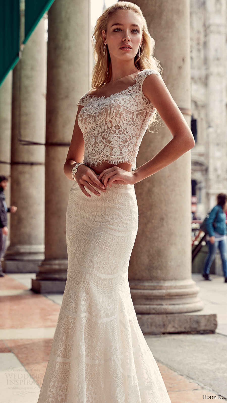 eddy k milano bridal 2017 cap sleeves lace bodice trumpet skirt two piece wedding dress (md207) zfv