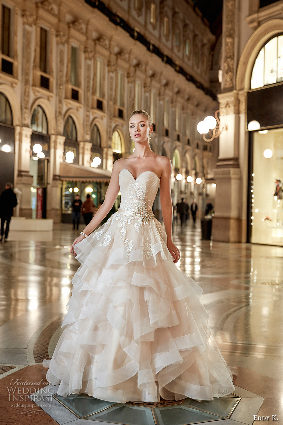 eddy k milano bridal 2017 sleeveless strapless sweetheart neckline heavily embellished bodice beautiful princess romantic tiered horsehair ball gown wedding dress sweep train (md210) mv