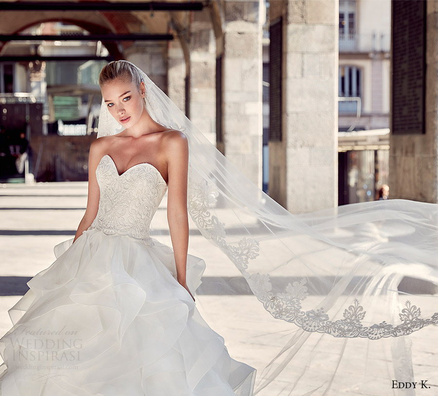 eddy k milano bridal 2017 strapless sweetheart tiered skirt ball gown wedding dress (md208) fv