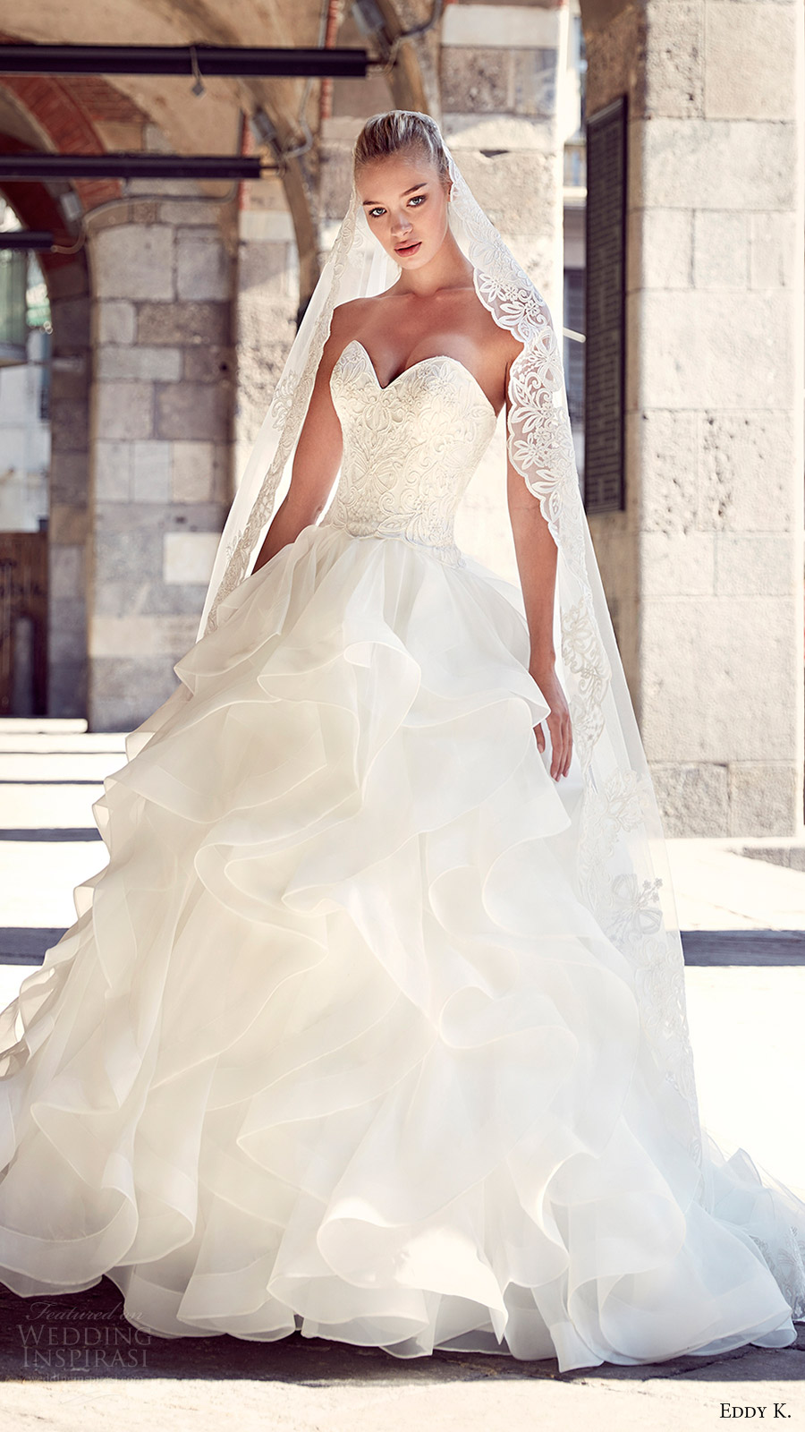 eddy k milano bridal 2017 strapless sweetheart tiered skirt ball gown wedding dress (md208) mv