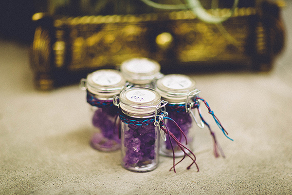 purple wedding ideas - photo by Jenn Byrne Creative http://ruffledblog.com/diy-purple-rock-candy-favors