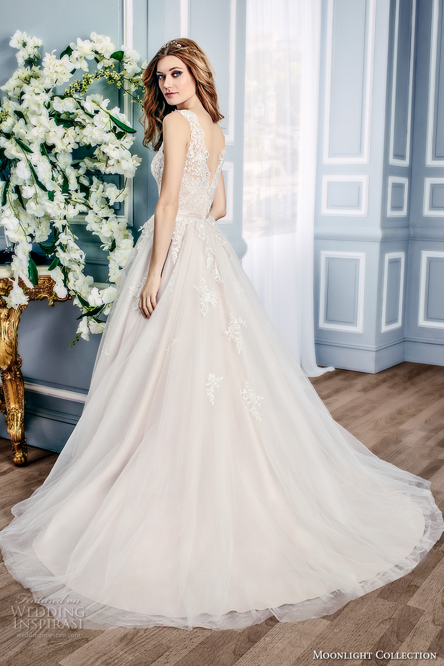 moonlight collection fall 2016 bridal sleeveless lace illusion boat sweetheart neckline heavily embellished bodice tulle a line wedding dress v back sweep train (j6431) bv