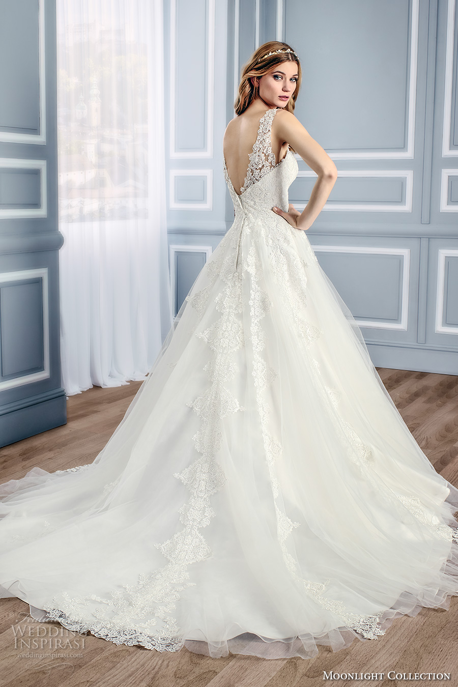 moonlight collection fall 2016 bridal sleeveless lace sheer scoop sweetheart neckline heavily embellished bodice romantic a line wedding dress v back cathedral train (j6437) bv