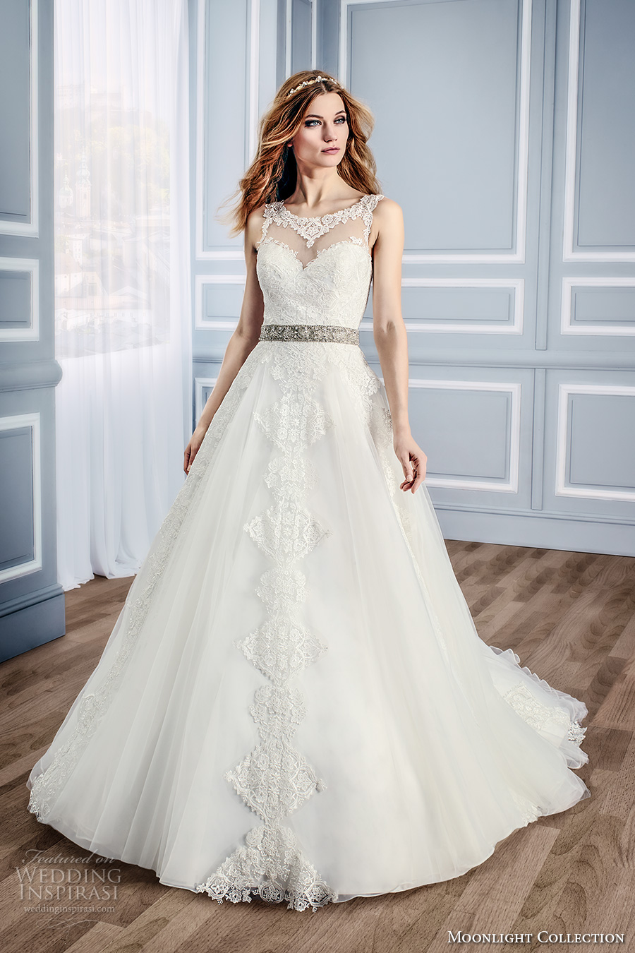 moonlight collection fall 2016 bridal sleeveless lace sheer scoop sweetheart neckline heavily embellished bodice romantic a line wedding dress v back cathedral train (j6437) mv