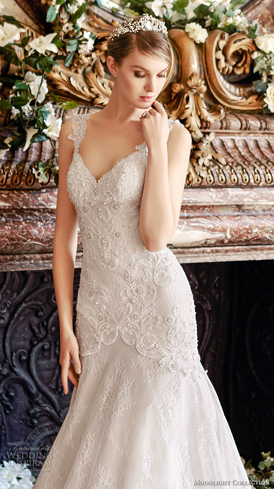 moonlight collection fall 2016 bridal sleeveless lace strap v neck heavily embellished bodice mermaid wedding dress open back cathedral train (j6436) zv
