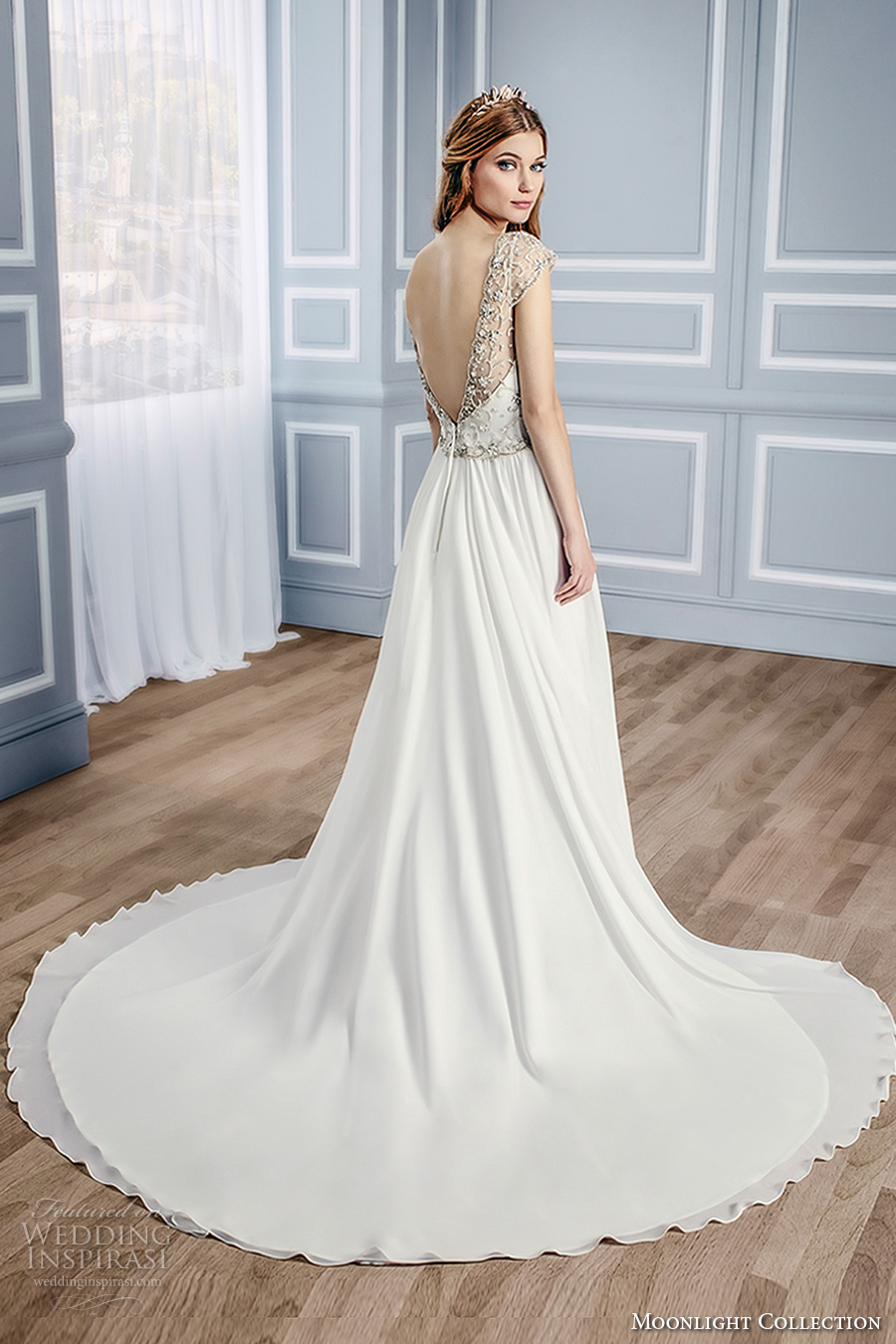 moonlight collection fall 2016 bridal sleeveless thick strap sweetheart neckline heavily embellished bodice a line wedding dress open low v back chapel train (j6433) bv