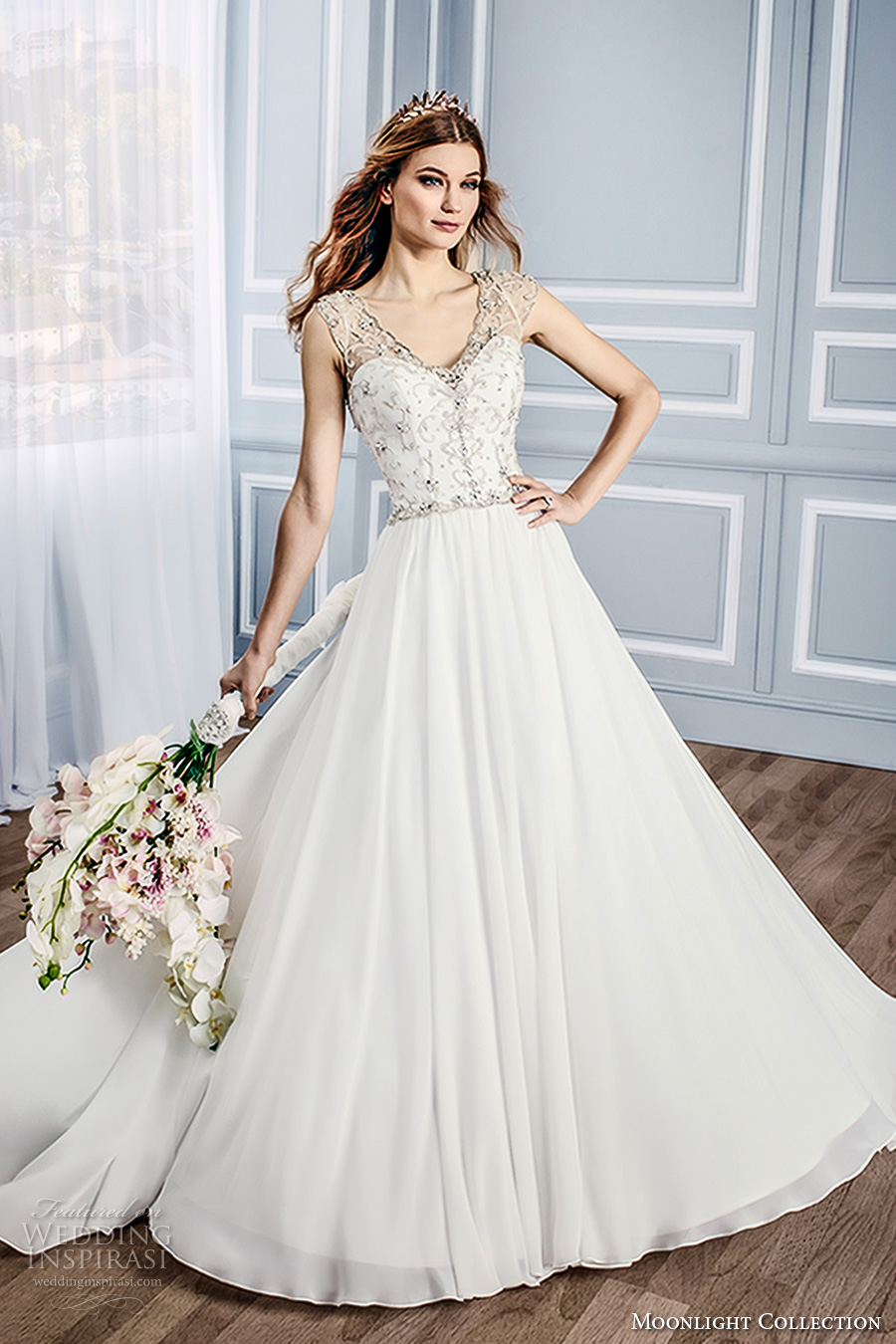 moonlight collection fall 2016 bridal sleeveless thick strap sweetheart neckline heavily embellished bodice a line wedding dress open low v back chapel train (j6433) mv