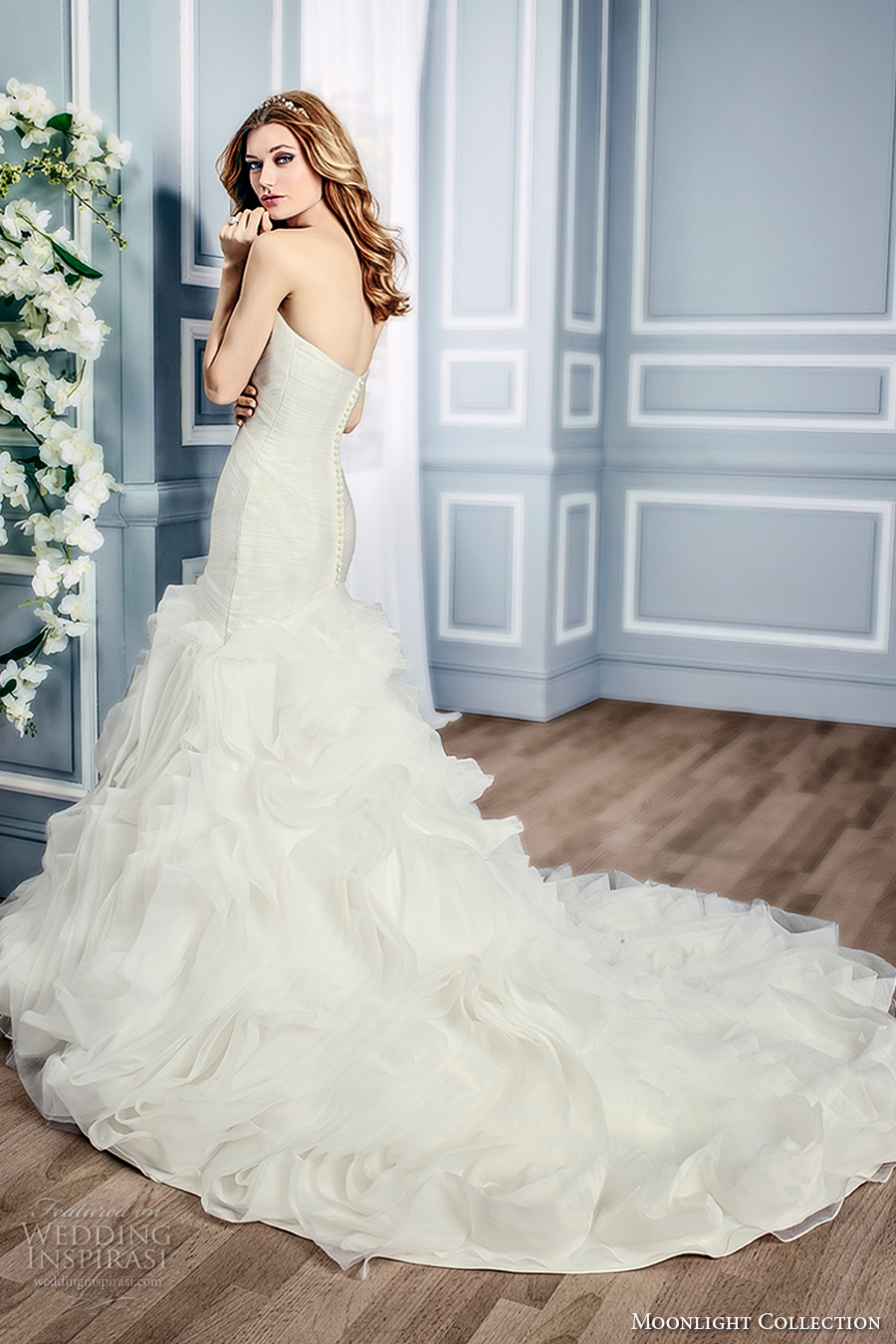 moonlight collection fall 2016 bridal strapless sweetheart neckline ruched bodice gathered skirt mermaid wedding dress chapel train (j6434) bv