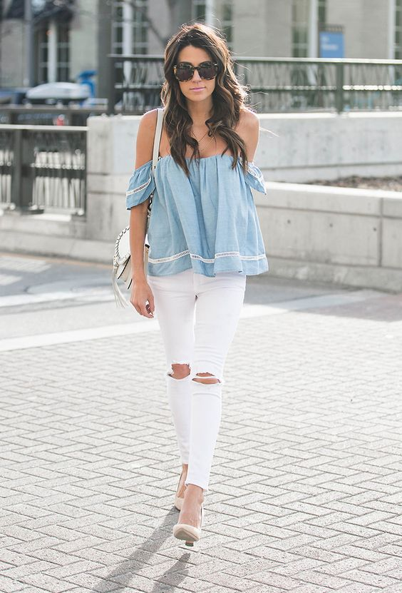 white denim skinny jeans with knee rips, styled with a chambray off-the-shoulder top