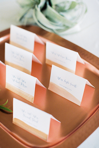 Brushed copper place cards | Alexis June Weddings