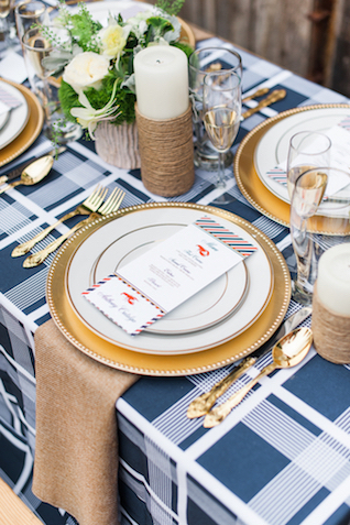 Red, white, and blue Americana / 4th of July wedding place setting | Eileen Meny Photography