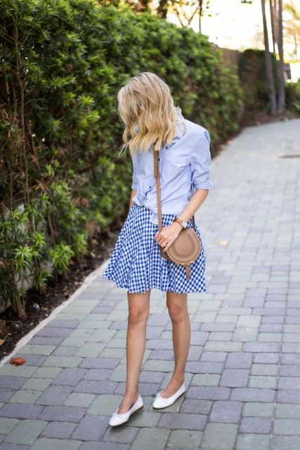 Look with checked mini skirt and blue shirt
