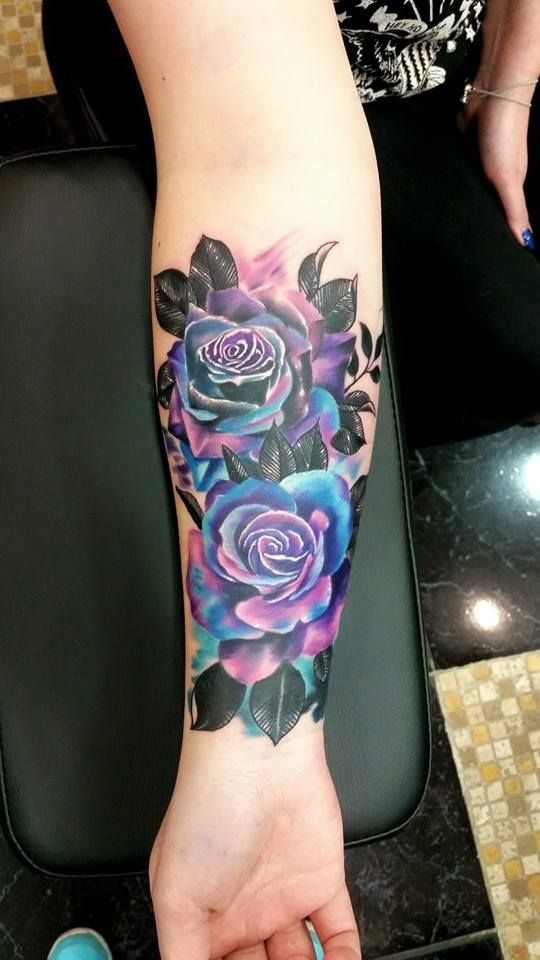 large purple and blue roses
