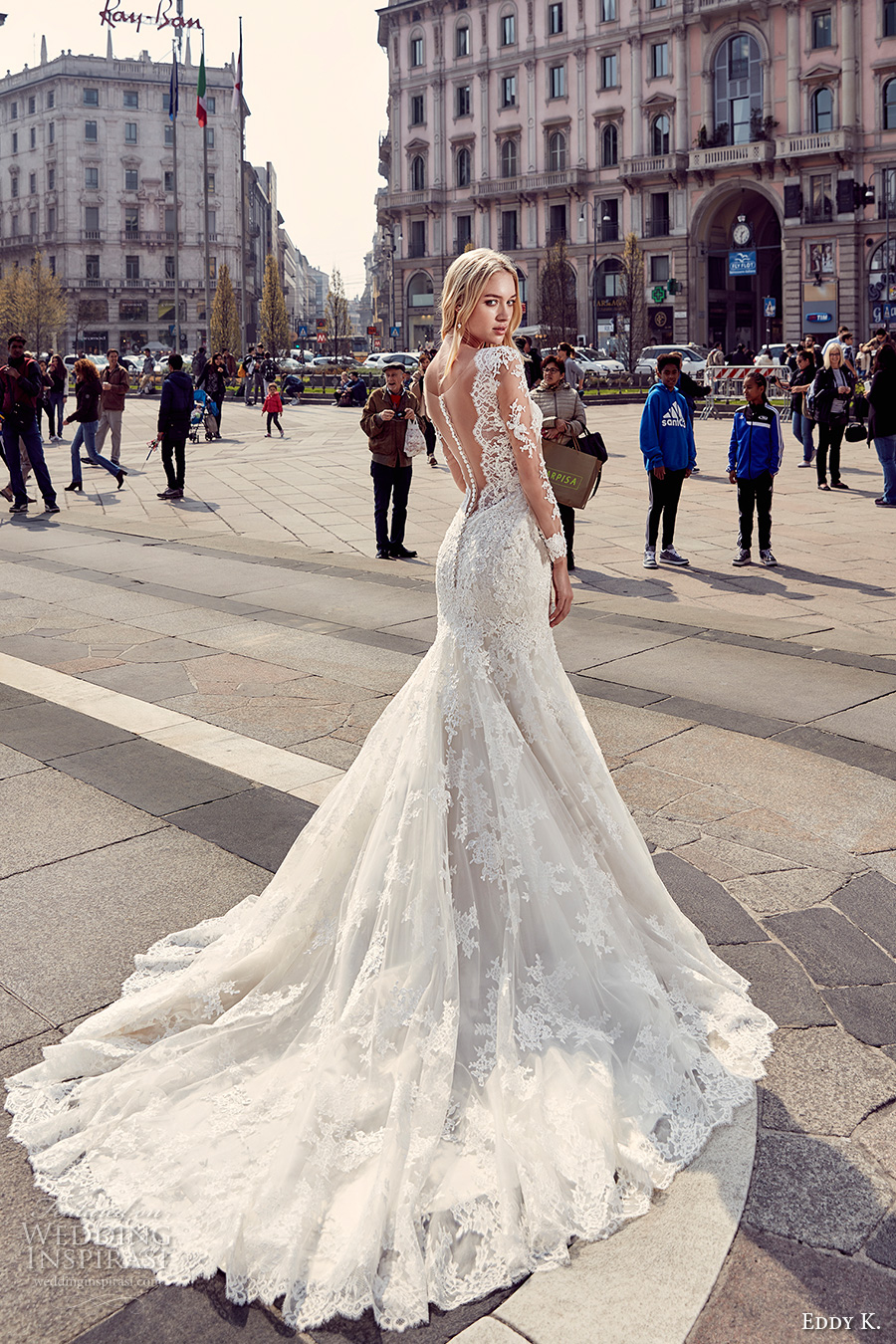 eddy k milano bridal 2017 sheer lace long sleeves deep plunging neckline heavily embellished bodice elegant mermaid wedding dress low back chapel train (md218) bv