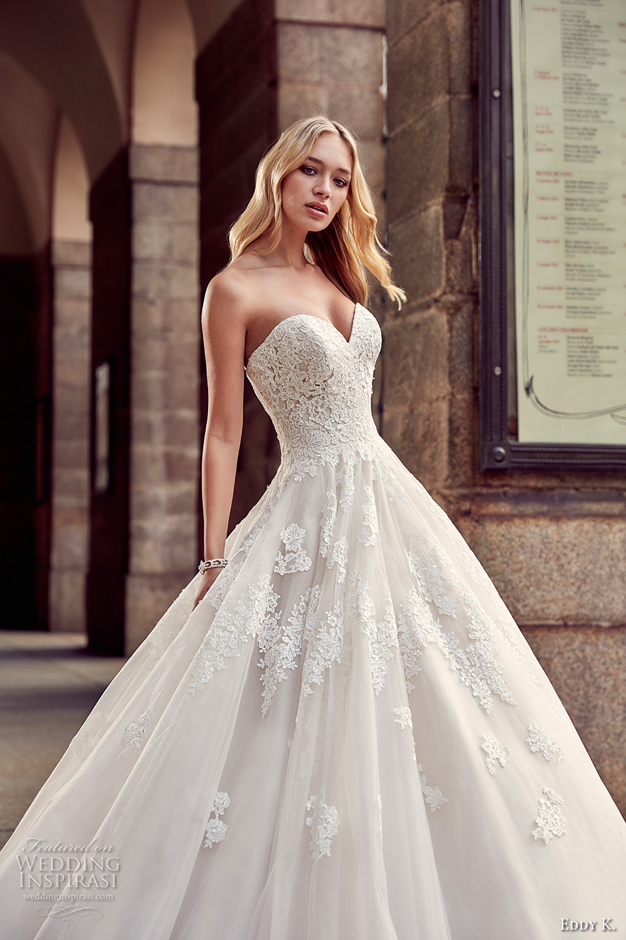 eddy k milano bridal 2017 strapless sweetheart neckline heavily embellished bodice pretty princess a line ball gown wedding dress sweep train (md217) zv