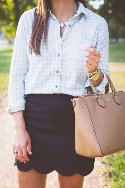 Outfit with button down printed shirt and mini skirt