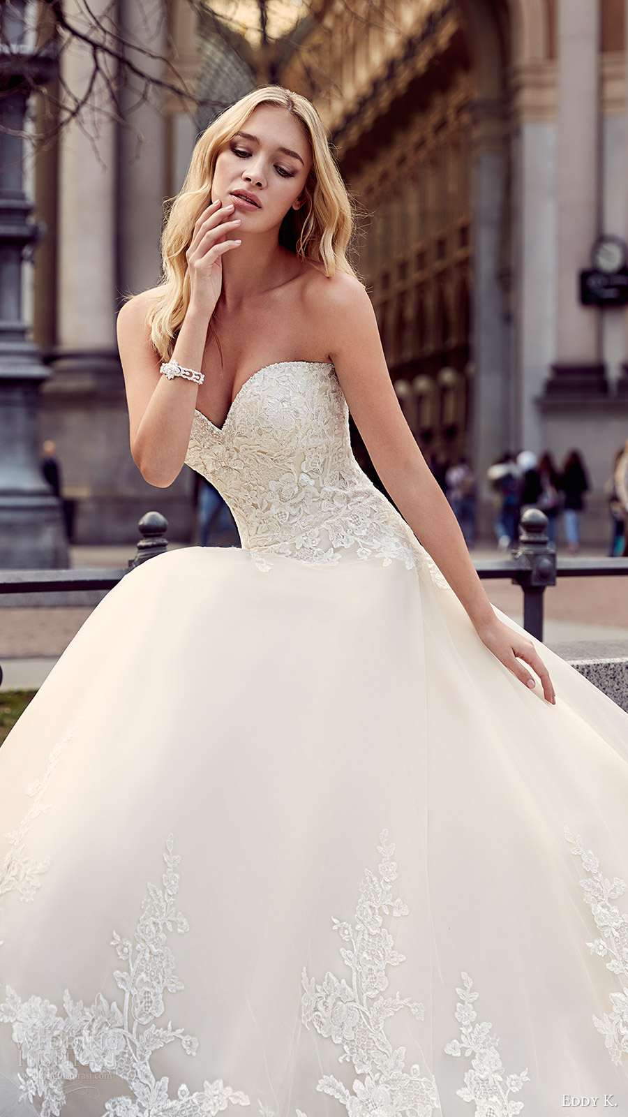 eddy k milano bridal 2017 strapless sweetheart lace ball gown wedding dress (md204) fv