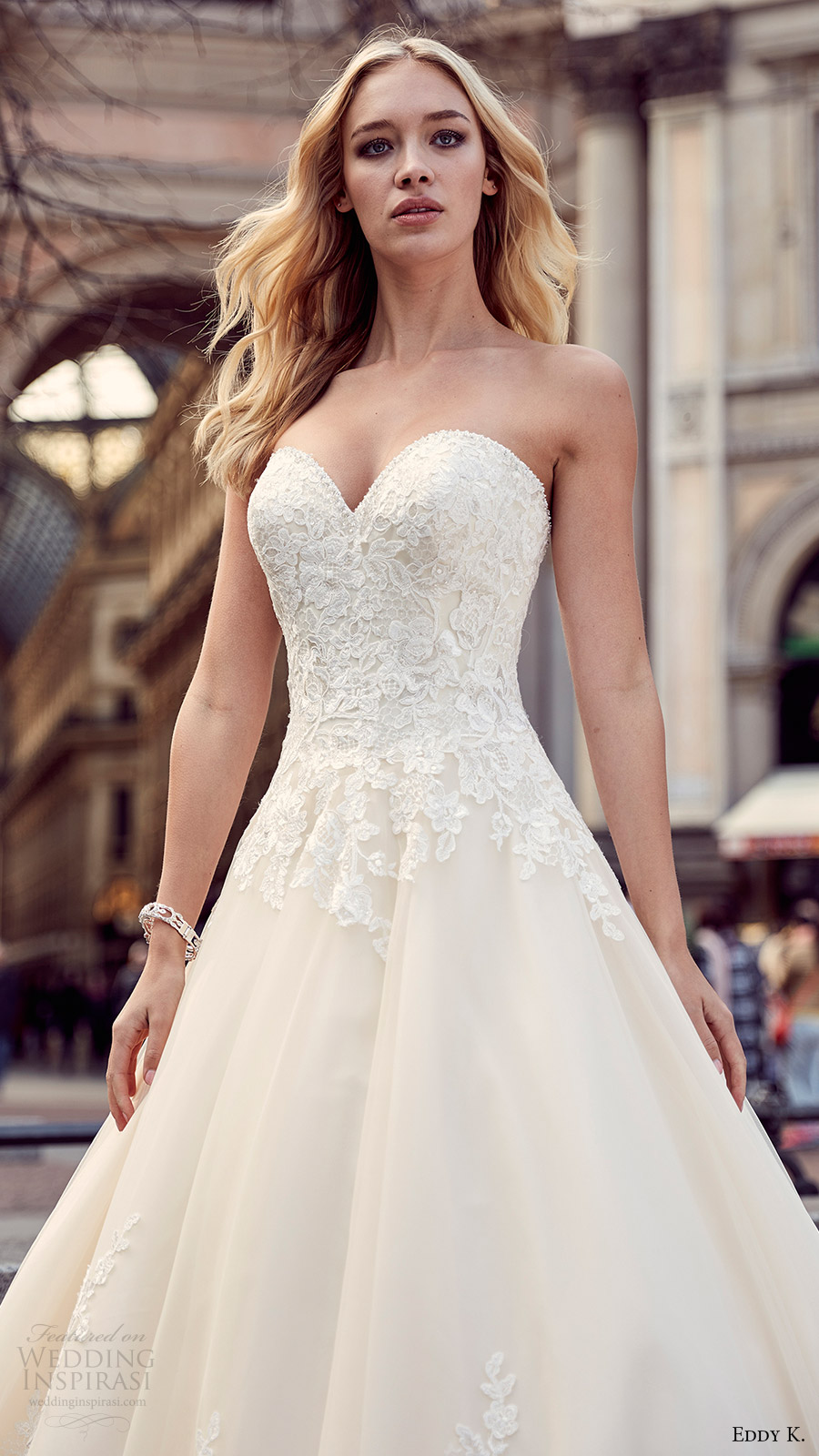 eddy k milano bridal 2017 strapless sweetheart lace ball gown wedding dress (md204) zfv