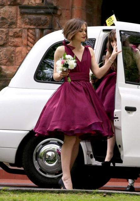 Retro styled marsala bridesmaid dress