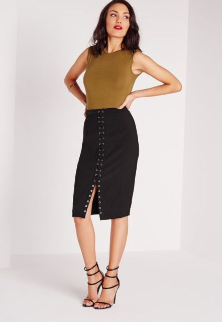 Lace up skirt, top and heels