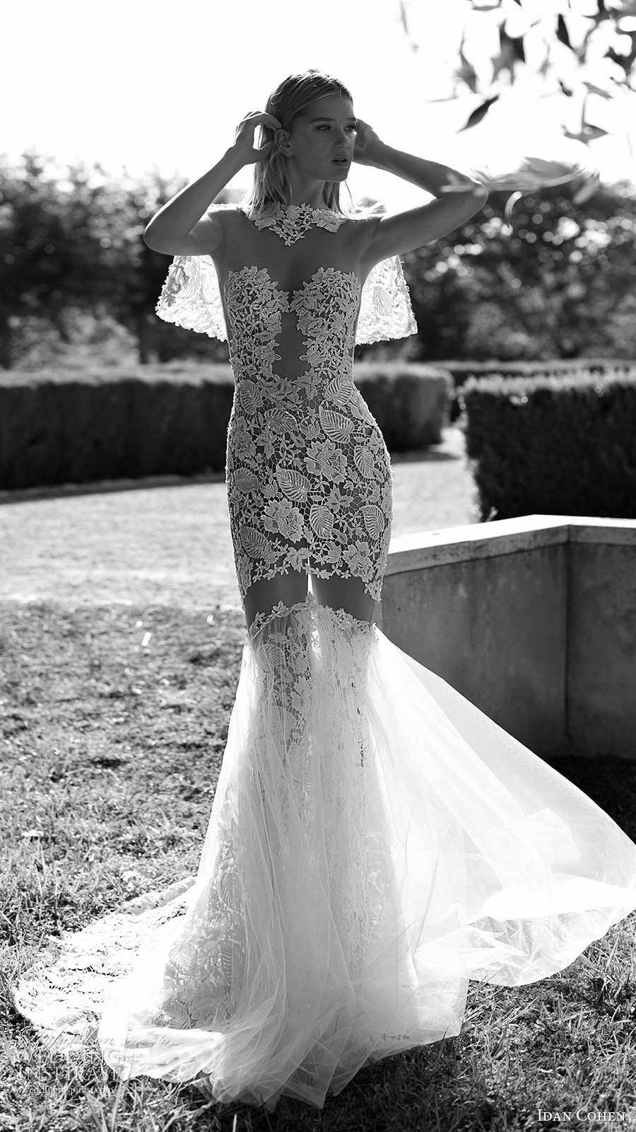idan cohen bridal 2017 illusion long sleeves sweetheart neckline mermaid lace wedding dress (luisa lia) fv short lace capelet long train