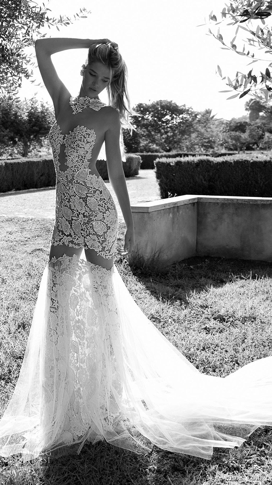 idan cohen bridal 2017 illusion long sleeves sweetheart neckline mermaid lace wedding dress (luisa lia) mv long train