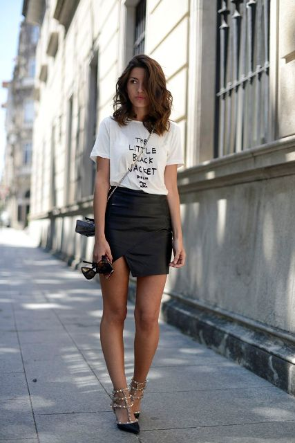 With slogan t-shirt and heels