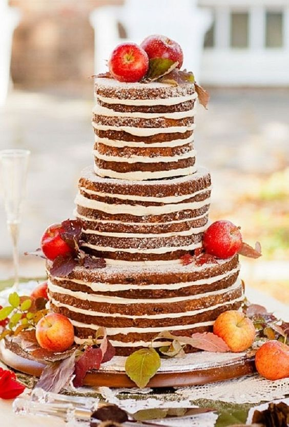 naked fall wedding cake with apples