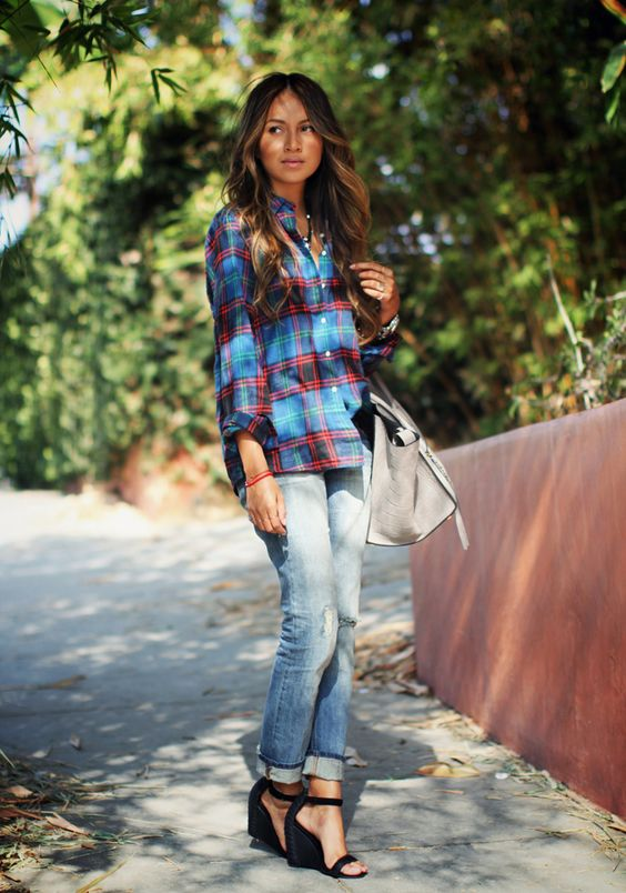 jeans, a checked shirt and black wedges