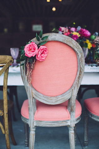 Pink chair with flowers | Monika Gauthier Photography