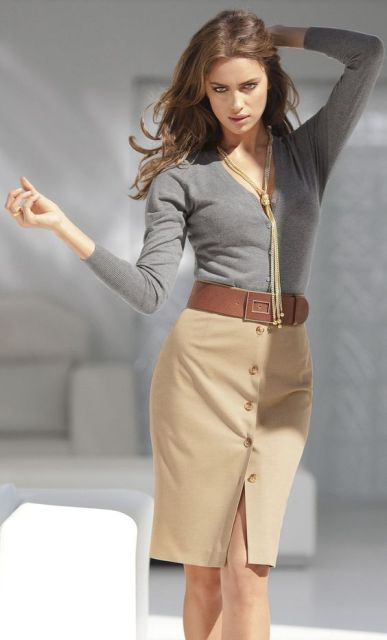 With gray shirt, necklace and oversized belt
