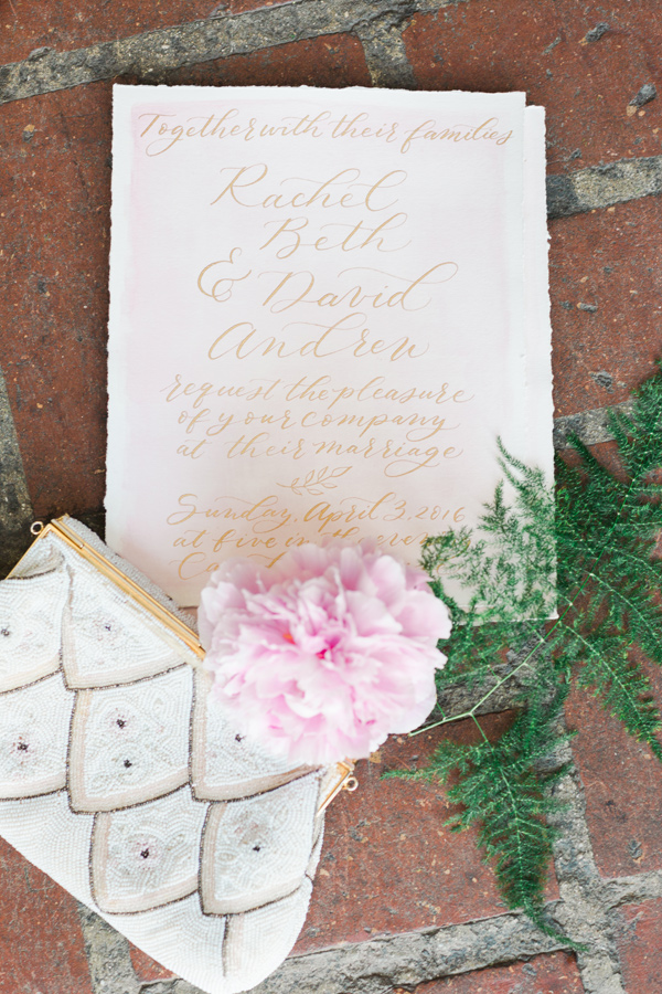 gold wedding invitation - photo by Valorie Darling Photography http://ruffledblog.com/floral-filled-carondelet-house-wedding