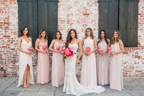 bridesmaids in neutral colors - photo by Valorie Darling Photography http://ruffledblog.com/floral-filled-carondelet-house-wedding