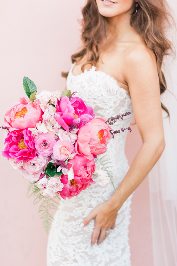 hot pink bouquet - photo by Valorie Darling Photography http://ruffledblog.com/floral-filled-carondelet-house-wedding