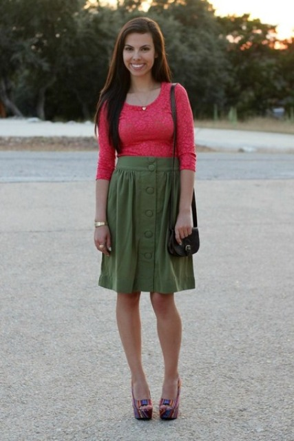 Outfit wth olive green skirt and colored shirt