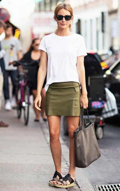 Simple casual outfit with white t-shirt and mini skirt